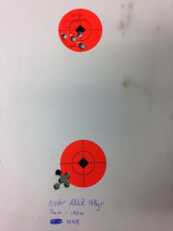 7mm 180gr Berger Hybrid and 168gr ABLR at 100m after fix of suppressor