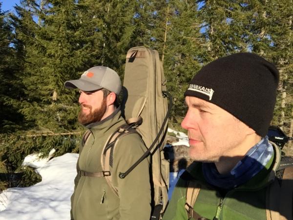 Jag och Fredrik är på väg ner för berget under goa förhållanden :)